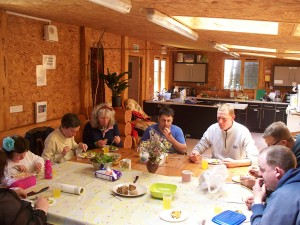 Time for tea in the Country Log cabin at 'Growing for Life', with a bit of music chosen by the group members on the day...disco?, jazz?, no reggae please!